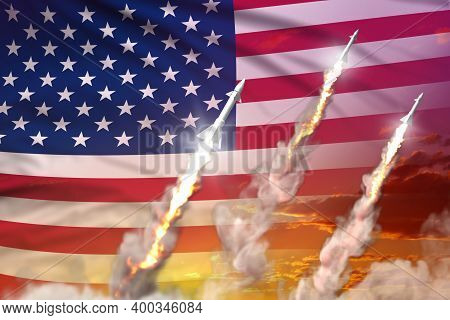 Usa Ballistic Missile Launch - Modern Strategic Nuclear Rocket Weapons Concept On Sunset Background,