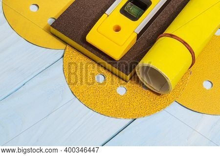 Set Of Abrasive Tools And Building Level For Cleaning Or Sanding Various Objects