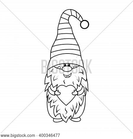 Gnome With Heart, Coloring Book For Kids, Vector Illustration Black Outline, Children's Creativity,