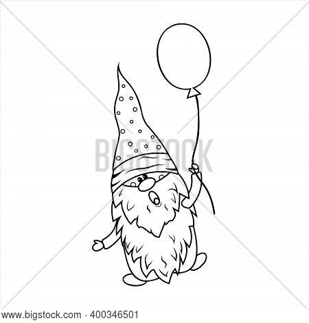 Gnome With Balloon Coloring Book For Kids, Vector Illustration Black Outline, Children's Creativity,