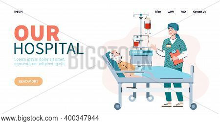 Website Page For Hospital With Attending Physician Visits The Patient In The Hospital Ward, Flat Car