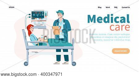 Medical Care Website Banner Mockup With Cartoon Characters Of Doctor And Patient In Hospital Unit, C
