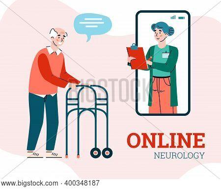 Online Neurology Banner With Neurologist Consulting Elderly Man, Cartoon Vector Illustration. Medica