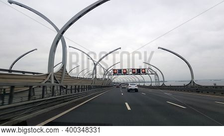 Russia, St. Petersburg 08.10.2020 Western High-speed Diameter Is An Intracity Toll Highway In St. Pe