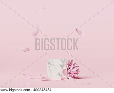3d Display Podium Pastel Pink Flower  Background. Peony Blossom. Nature Minimal Marble, Stone Pedest