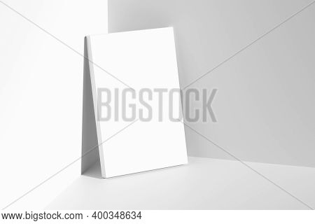 Blank White Empty Rectangular Poster On Floor Leaning At Empty White Walls In Cornet Diagonal Top Vi
