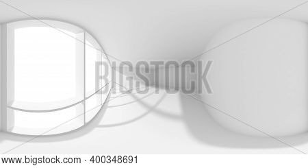 Hdri Environment Map Of Empty White Business Office Room With Empty Space And Sun Light From Large W