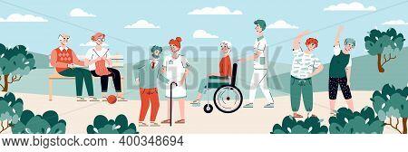 Residents Of Nursing Home At Walk Performing Various Leisure Activity, Flat Cartoon Vector Illustrat