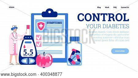 Concept Of World Diabetes Day. Doctor Control Sugar Level In Patient Blood. Medical Analyses, Awaren