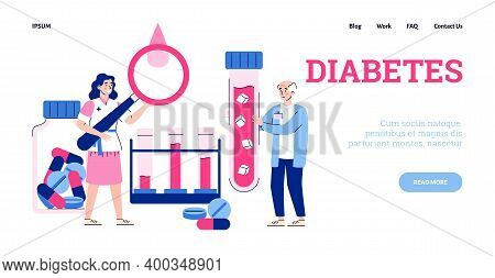 Website Page Interface For Diabetes Disease Clinic Or Medical Glucose Test Laboratory, Flat Cartoon