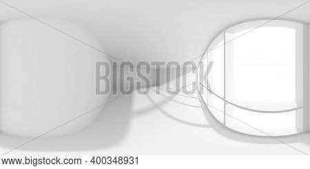 Hdri Environment Map Of White Empty Business Office Room With Empty Space And Sun Light From Large W