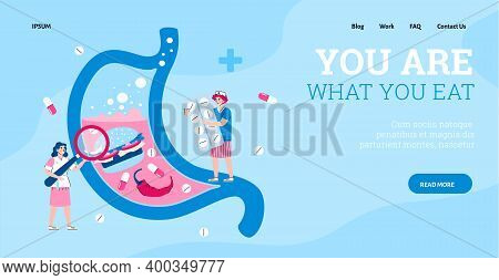 Landing Page Template For Medical Diagnostics, Treatment Of Stomach Pain. Diseases Digestive Organs