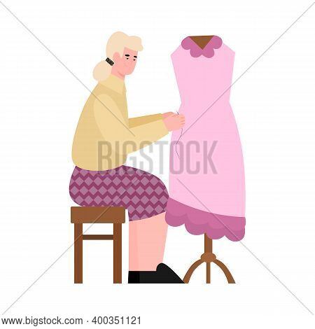 Seamstress Or Tailor Sewing Dress On Mannequin, Flat Cartoon Vector Illustration Isolated On White B