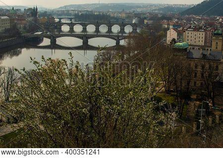 Prague, Czech Republic. 03-11-2020. Panoramic View Of Prague Historical Town And The Bridges Across