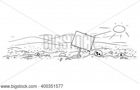 Vector Cartoon Drawing Or Illustration Of Abandoned Desert Landscape With Bones And Skulls. Empty Si