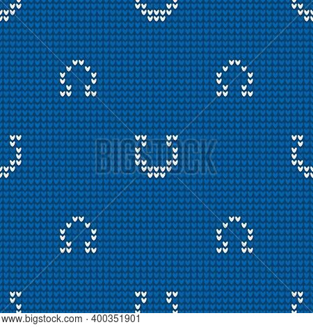 Seamless Knitting Pattern With Horseshoes For Sweater, Mitten Or Other Textile Design Is On Blue Bac