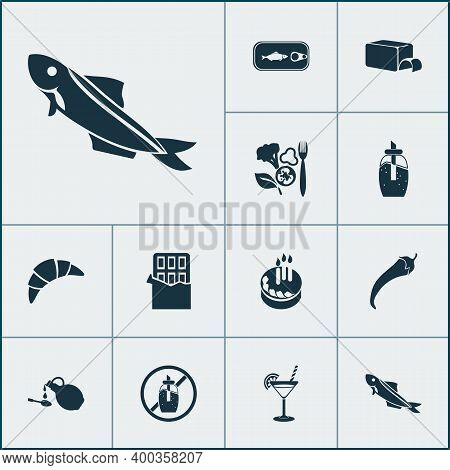 Meal Icons Set With Birthday Cake, Pepper, Sardine And Other Chili Elements. Isolated Vector Illustr