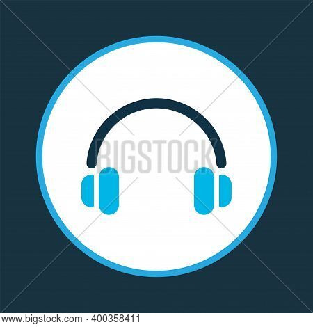 Headphone Icon Colored Symbol. Premium Quality Isolated Earphone Element In Trendy Style.