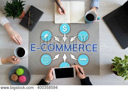 E-commerce Online Shopping Digital Marketing. Internet Technology And Business Finance Concept On Fl