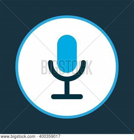 Video Chat Icon Colored Symbol. Premium Quality Isolated Microphone Element In Trendy Style.