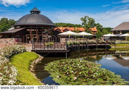 Vilnius, Lithuania - July 8, 2017: Belmontas Park In Vilnius. French (belmont) Mill Complex In The P