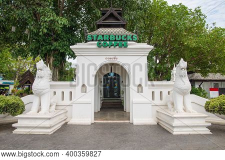 Chiang Mai, Thailand : May-14-2019 : The Starbucks Coffee Branches In Kad Farang Village The Only On