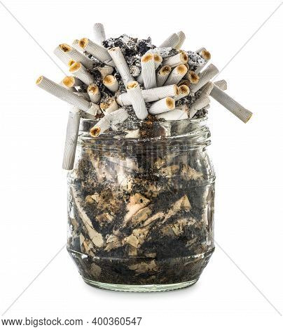Cigarette Butts In Glass Jar Isolated On White