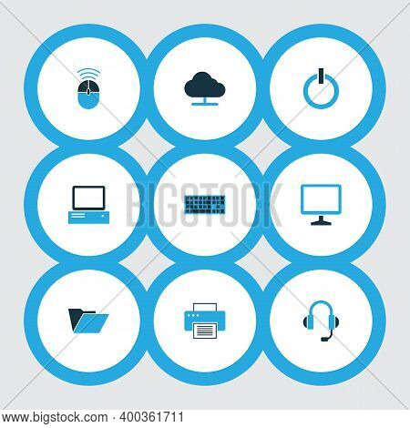 Hardware Icons Colored Set With Online Cloud, Headphones, Computer Mouse And Other File Elements. Is