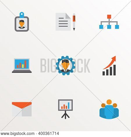 Business Icons Flat Style Set With Structure, Growing Chart, Team And Other Group Elements. Isolated