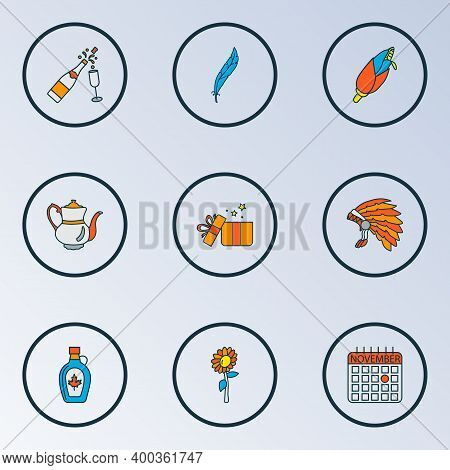 Thanksgiving Icons Colored Line Set With Maple Syrup, Stemware, Fireworks And Other Nature Elements.