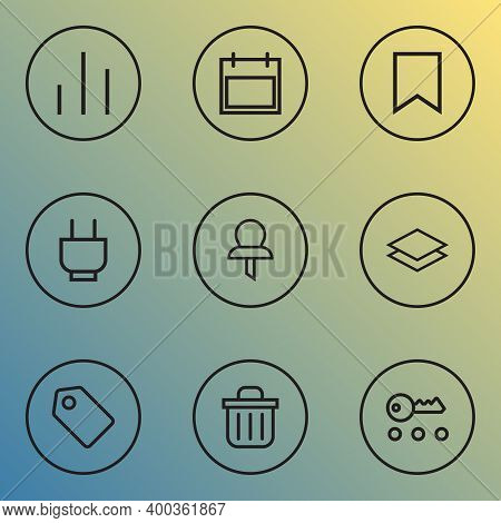 Interface Icons Line Style Set With Magnifier, Schedule, Storage And Other Ban Elements. Isolated Il
