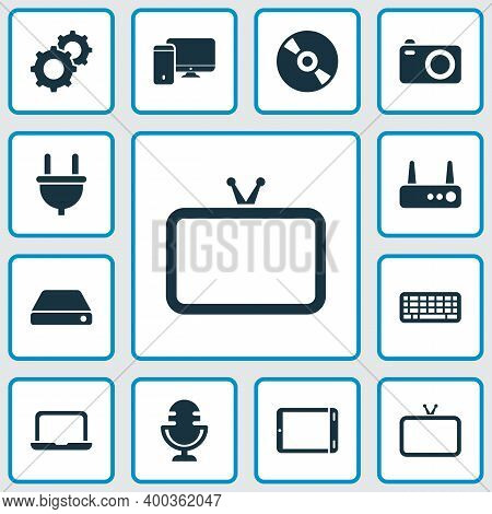 Device Icons Set With Laptop, Hard Drive, Router And Other Compact Disc Elements. Isolated Illustrat