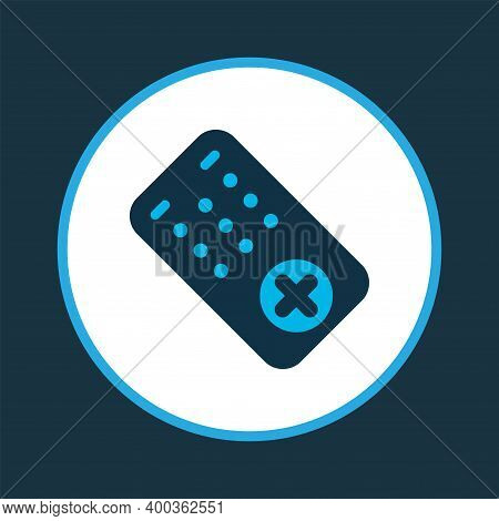 Communication Console Icon Colored Symbol. Premium Quality Isolated Tv Controller Element In Trendy