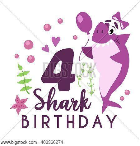Baby Shark Birthday Party Clipart - Cartoon Baby Birthday Composition, Vector Nursery Cute Nautical