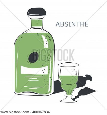 Absinthe Alcoholic Beverage In Shop Or Bar Vector