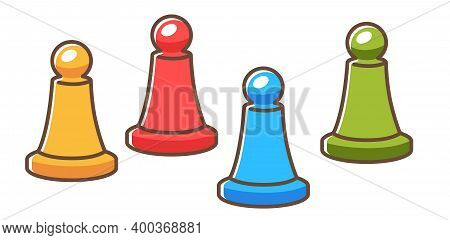 Board Game Figures Or Pawns For Playing Vector