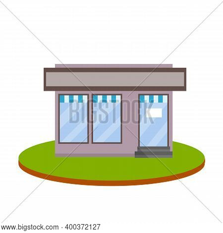 Small Shop Or Store. Food Trade And Coffee Shop. Town And City