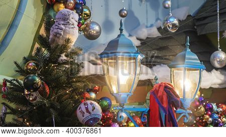 Christmas Tree, Toys And Lights Background.  Christmas Concept For Design.