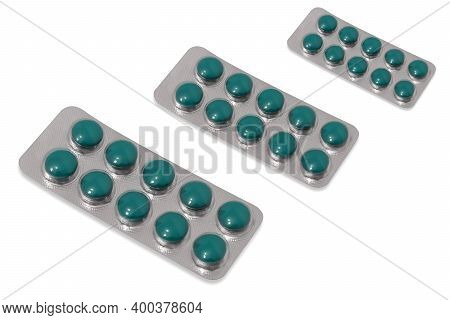 Packaging Round Blue Tablets, Tablets, Lozenges. Isolated On White.