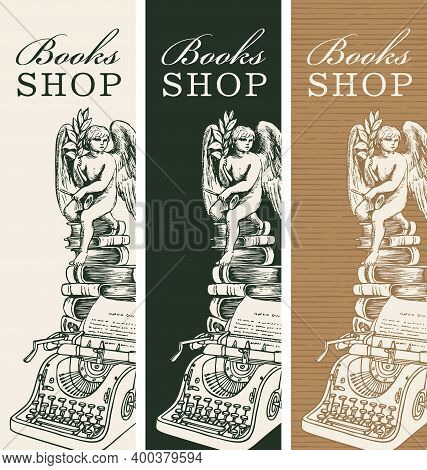 Set Of Three Banners For Books Shop With A Pencil Drawing Of Old Typewriter, Books And Angel. Vector
