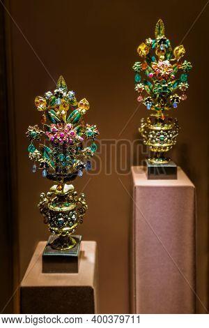 Vienna Austria - December 30, 2016: Treasures in Museum Hofburg palace in Vienna.