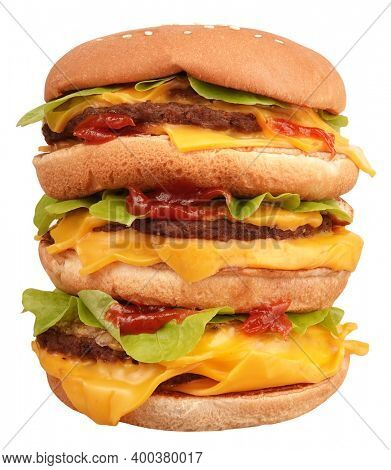 High huge hamburger fast food cheeseburger isolated on white background