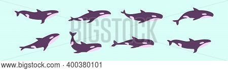 Set Of Killer Whale Cartoon Icon Design Template With Various Models. Modern Vector Illustration Iso