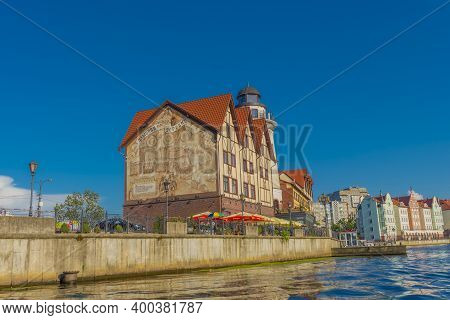 Ethnographic And Trade Center, The Fishing Village On The Embankment Of Pregolya River In City Cente