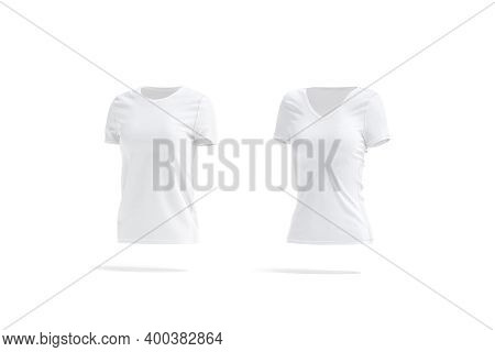 Blank White Women Slimfit And Classic T-shirt Mockup, Side View, 3d Rendering. Empty Fabric Neckline