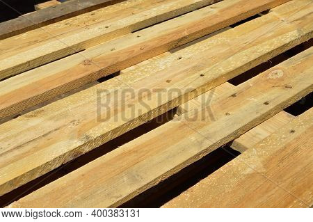Sturdy Wooden Pine Pallet Used In Transportation And Storage, Euro Pallet, Epal Pallet, Isolated On