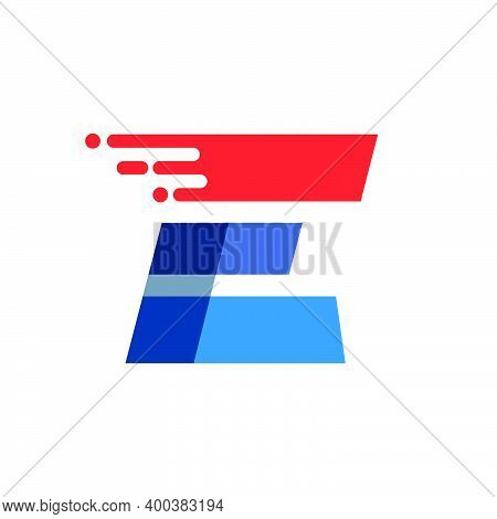 Letter E Fast Speed Motion Logo. Oblique Font With Red Line For Sportswear Labels, Delivery Poster,
