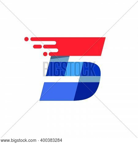 Number Five Fast Speed Motion Logo. Oblique Font With Red Line For Sportswear Labels, Delivery Poste