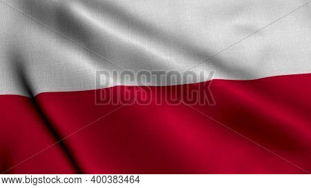 Poland Satin Flag. Waving Fabric Texture Of The Flag Of Poland, Real Texture Waving Flag Of The Pola
