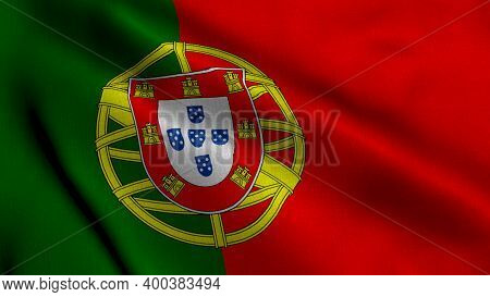 Portugal Satin Flag. Waving Fabric Texture Of The Flag Of Portugal, Real Texture Waving Flag Of The